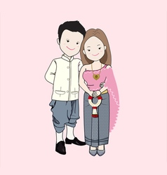 Wedding cartoon couple in Thai tradition costume vector image