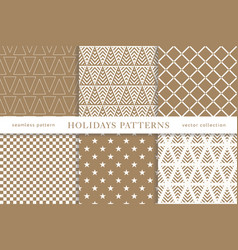 winter holidays seamless patterns vector image