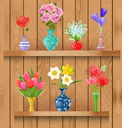 Wooden shelves with collection of modern vases vector image vector image