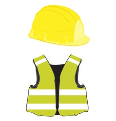 Yellow building helmet and vest vector