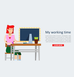 young girl sitting in office and working on laptop vector image