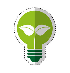 bulb with leafs ecology icon vector image vector image