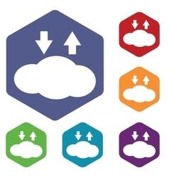 Cloud exchange icon hexagon set vector image