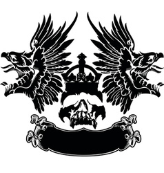 One Color Eagle Wings Skull Symbol Emblem vector image vector image