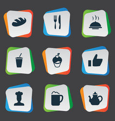 set of simple food icons vector image vector image