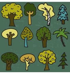 set of twelve cute cartoon hand-drawn trees vector image