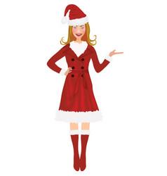 woman in santa coat whole figure vector image vector image
