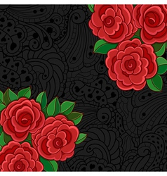 Black background with red roses and leaves vector image vector image
