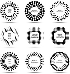 Circle dotted burst halftone banners vector image