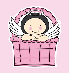Fairy in a basket vector image