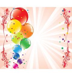 festive balloons and light-burst vector image vector image