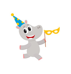 flat hippo character having fun running vector image vector image