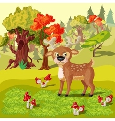 Forest Deer Cartoon Style vector image