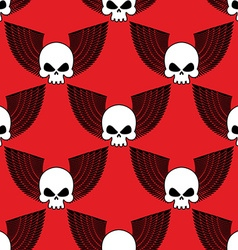 Skull with wings seamless pattern Background of vector image