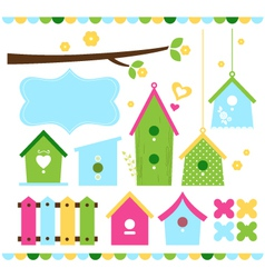 Spring colorful bird houses isolated on white vector image vector image