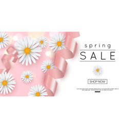 spring sale banner template with daisy vector image vector image