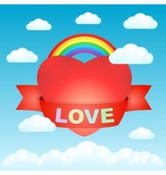Big love heart in the sky vector image vector image