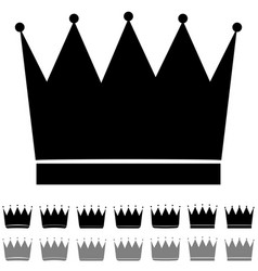 Black and grey crown different shapes icon vector
