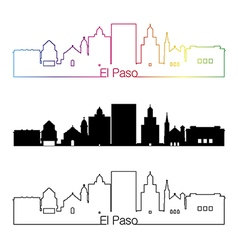 El Paso skyline linear style with rainbow vector image vector image