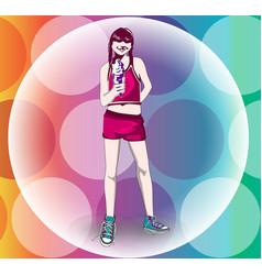 girl with an ice cream sundae cone vector image
