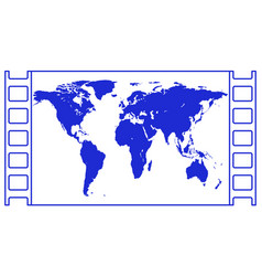 map in film frame vector image