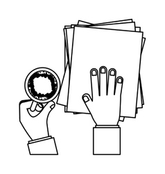 person hands with papers and cup coffee vector image
