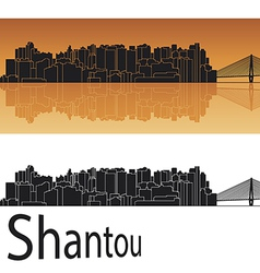 Shantou skyline in orange background vector image vector image