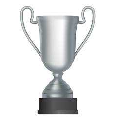 silver winner cup second place on white background vector image