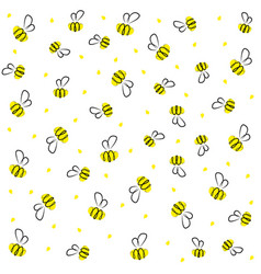 doodle cartoon bee yellow and black baby vector image vector image