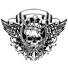 skull in crown and abstract patterns vector image vector image