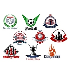 Sport games emblems and icons set vector image