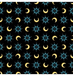 Stars and moons magical seamless pattern vector image