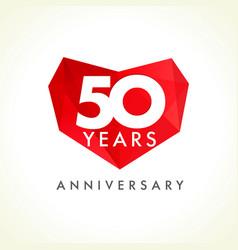 50 anniversary heart logo vector