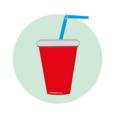 a glass of soda red with blue tube vector image