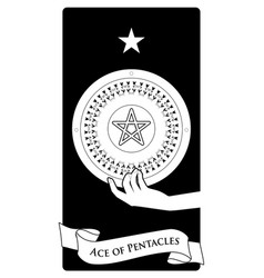 Aces tarot cards pentacles hand holding a vector