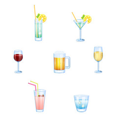 alcoholic drinks and non alcoholic drinks with vector image