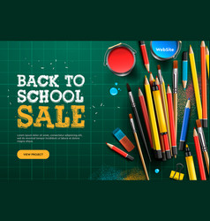 back to school sale landing page template for vector image