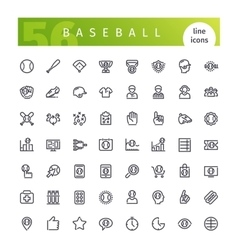 Baseball line icons set vector
