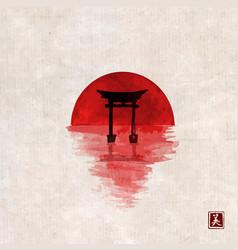Big red sun and black sacred torii gates on vector