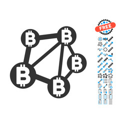 Bitcoin network icon with bonus pictograms vector