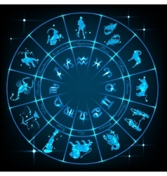 Blue horoscope circle vector