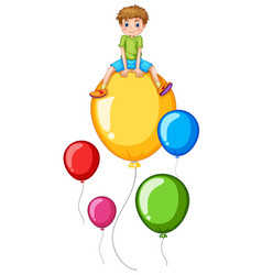 boy and colorful balloon vector image
