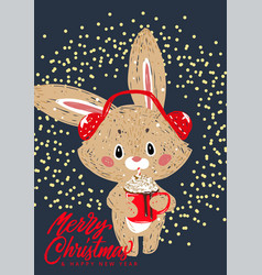 Bunny with winter whipped cream hot coffee vector