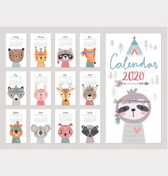 Calendar 2020 cute monthly with woodland vector