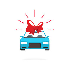 car special offer idea automobile with red gift vector image