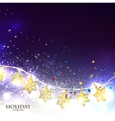 Christmas background with luminous garland vector image