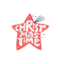 christmas time hand drawn white lettering vector image