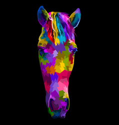 colorful horse head with abstract modern vector image