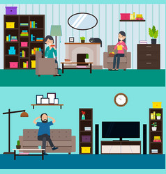 Colorful living room horizontal banners vector