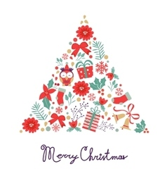 Colorful Merry Christmas composition with holiday vector image